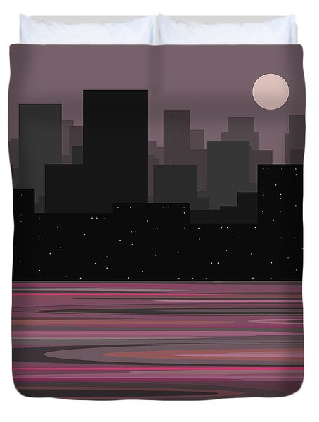 Moon Over Manhattan - A Different View Duvet Cover by Val Arie