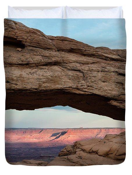 Moon Over Mesa Arch Duvet Cover