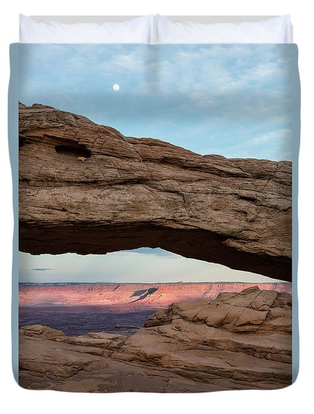 Moon Over Mesa Arch Duvet Cover