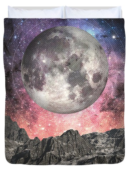 Duvet Cover featuring the digital art Moon Over Mountain Lake by Phil Perkins