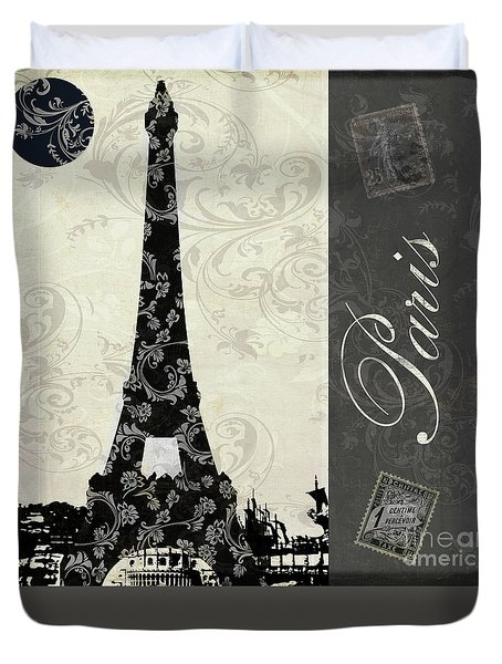 Moon Over Paris Postcard Duvet Cover by Mindy Sommers