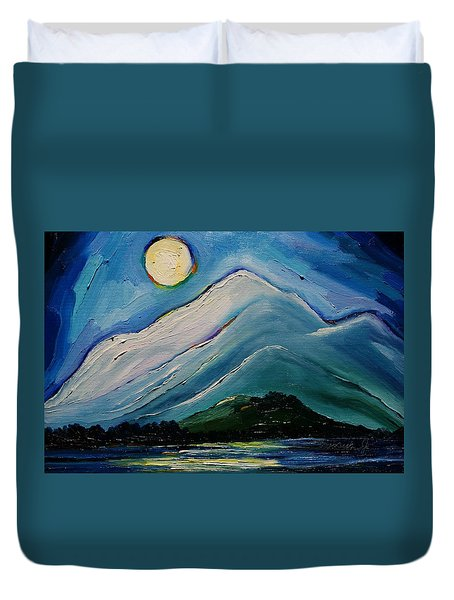 Moon Over Pioneer Peak Duvet Cover