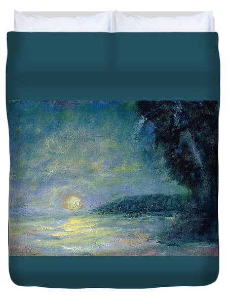 Moon Over Pt Dume Duvet Cover