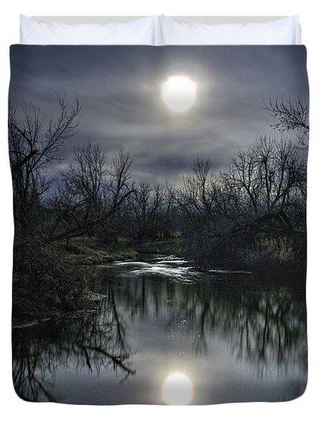 Moon Over Sand Creek Duvet Cover