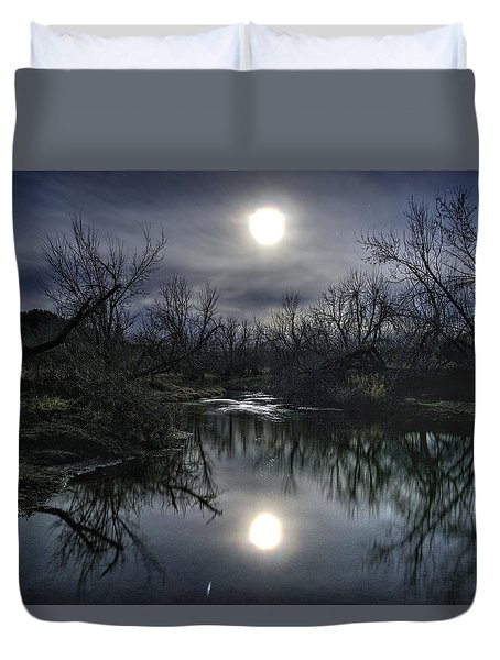 Moon Over Sand Creek Duvet Cover