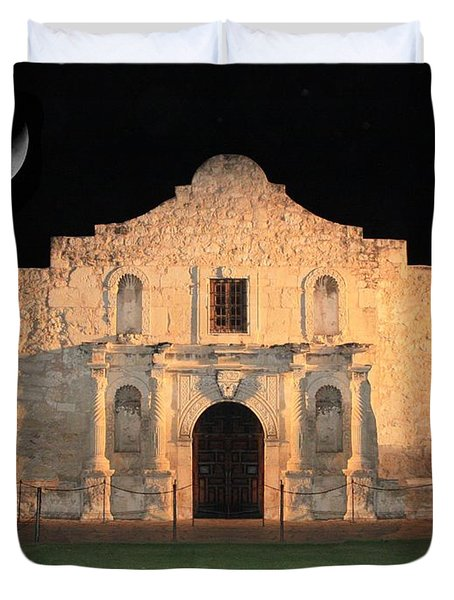 Moon Over The Alamo Duvet Cover