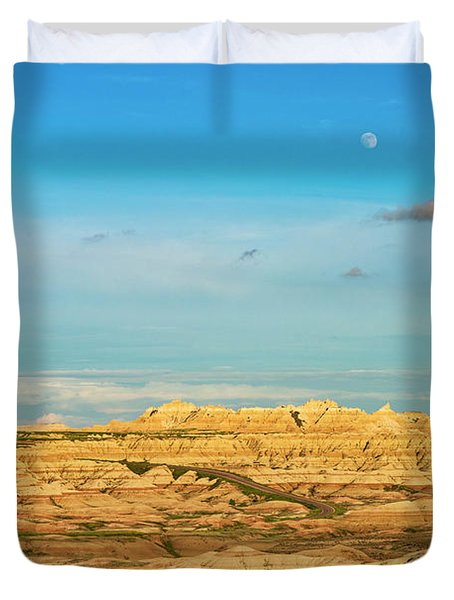 Moon Over The Badlands Duvet Cover