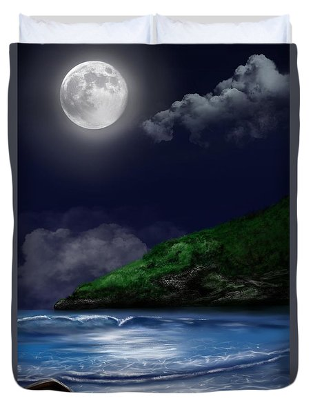 Moon Over The Cove Duvet Cover