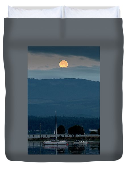 Moon Over The Spit Duvet Cover