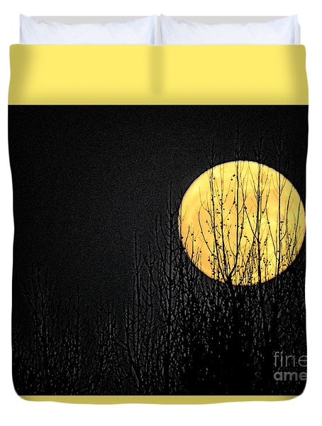 Moon Over The Trees Duvet Cover