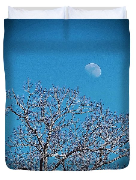 Moon Over Tree Duvet Cover