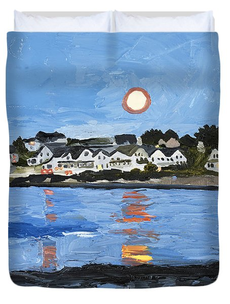Moon Over York Beach Duvet Cover
