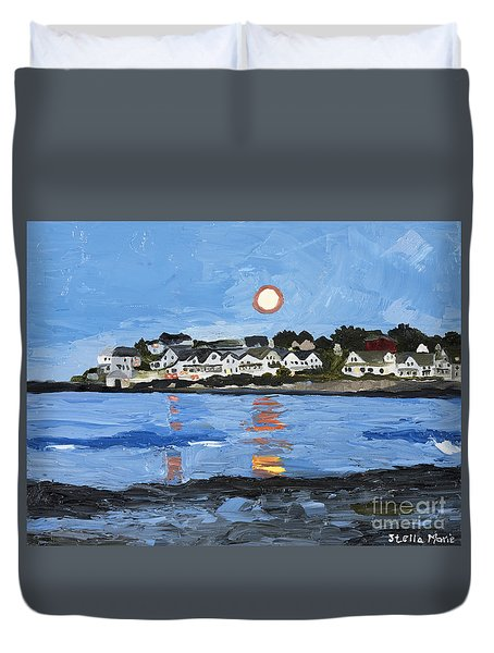 Moon Over York Beach Duvet Cover
