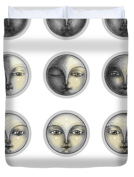 Moon Phases And Romanticism Duvet Cover