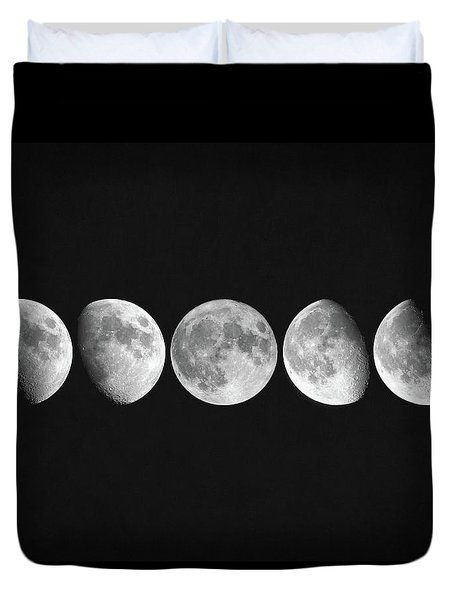 Duvet Cover featuring the digital art Moon Phases by Taylan Apukovska