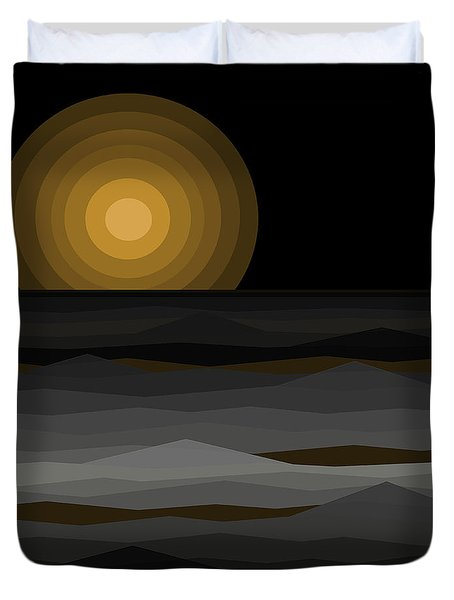 Moon Rise Abstract - Black And Gold Duvet Cover by Val Arie