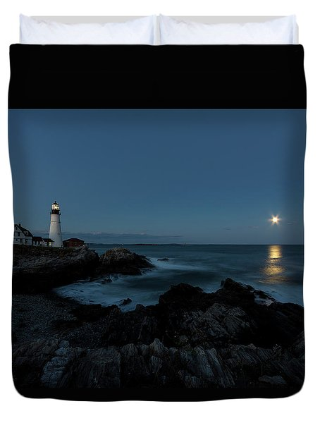 Moon Rise At Portland Headlight Duvet Cover