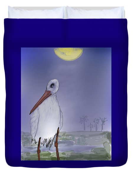 Moon Rise Becomes A Stork Duvet Cover