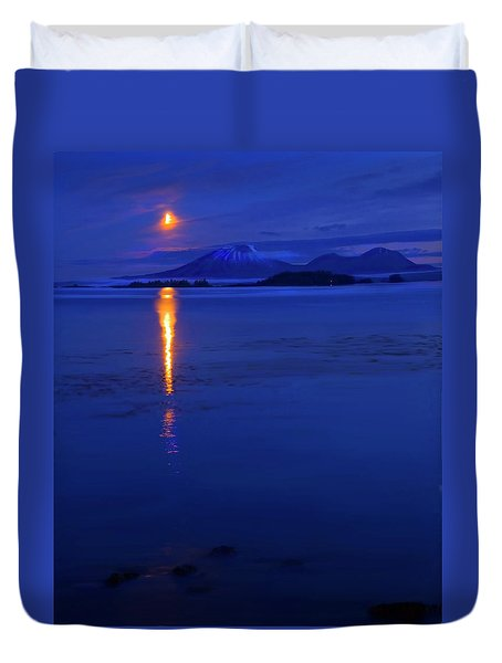 Moon Rise Over Mt. Edgecumbe Duvet Cover by Mike  Dawson