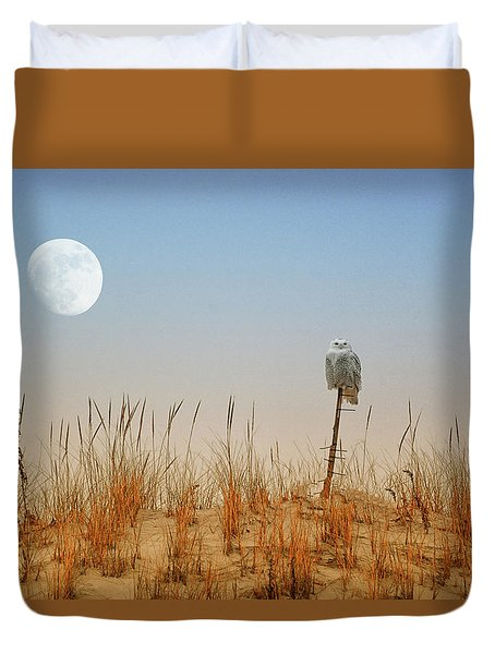 Moon Rise Snowy Owl Duvet Cover
