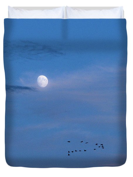 Moon Rises Geese Fly Duvet Cover