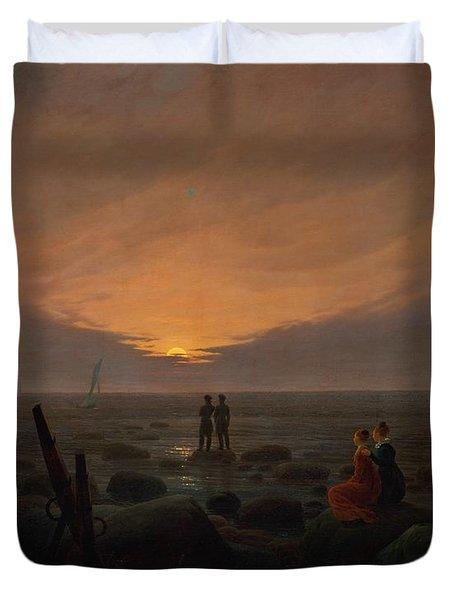 Moon Rising Over The Sea Duvet Cover by Caspar David Friedrich