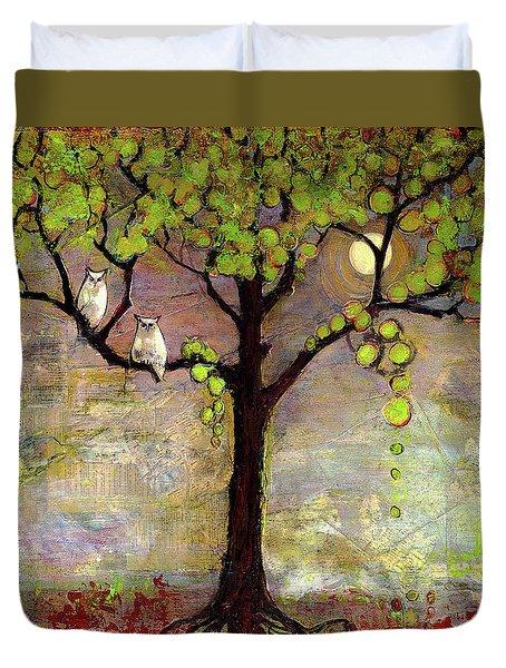 Moon River Tree Owls Art Duvet Cover by Blenda Studio