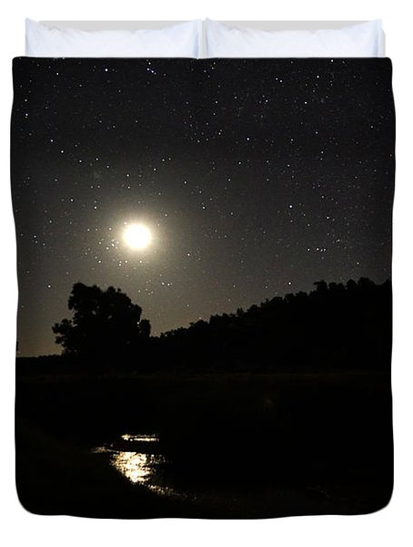 Moon Set Over Palm Valley 2 Duvet Cover
