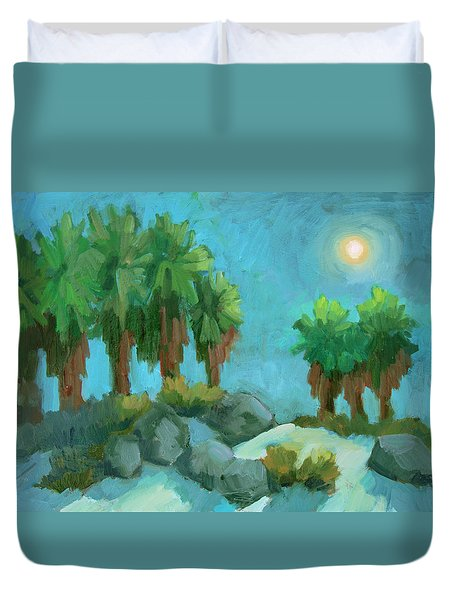 Duvet Cover featuring the painting Moon Shadows Indian Canyon by Diane McClary