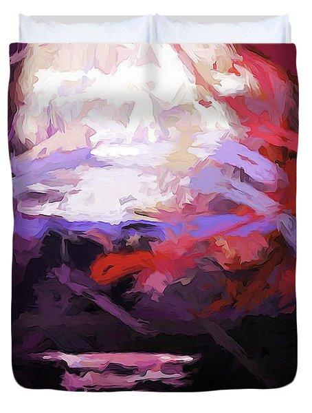 Moon Sky Pink Sea Duvet Cover