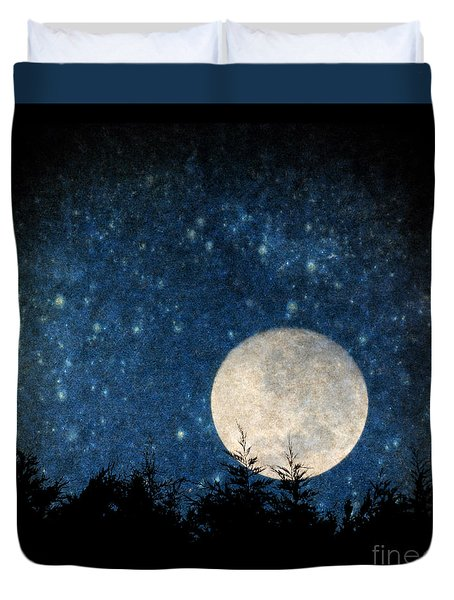 Moon, Tree And Stars Duvet Cover