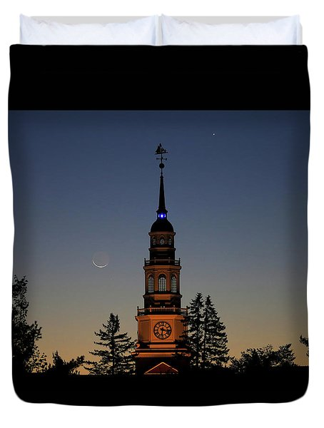 Moon, Venus, And Miller Tower Duvet Cover
