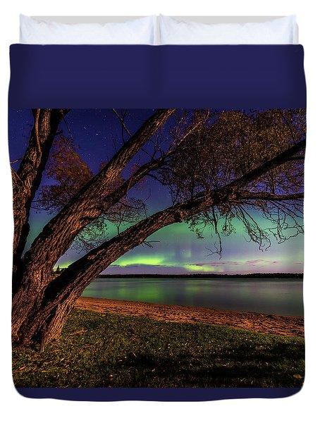 Moon Vs Aurora Duvet Cover