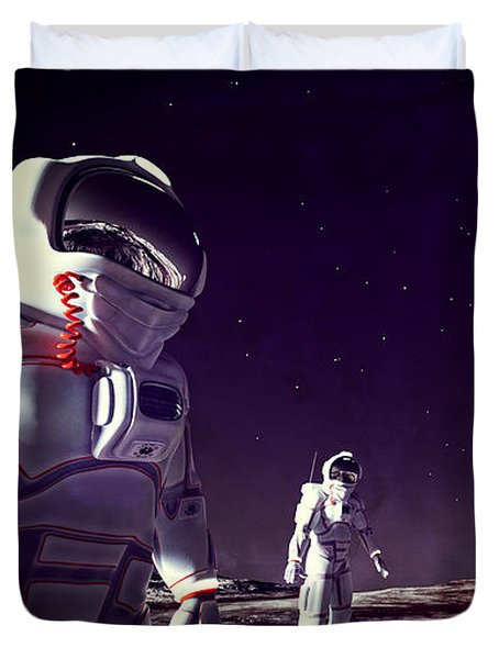 Duvet Cover featuring the digital art Moon Walk by Methune Hively