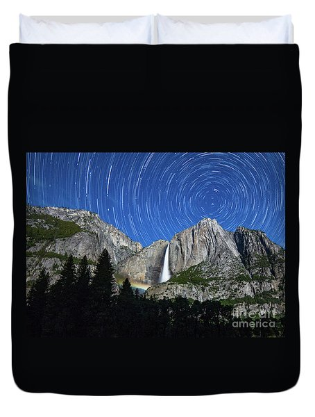 Moonbow And Startrails  Duvet Cover