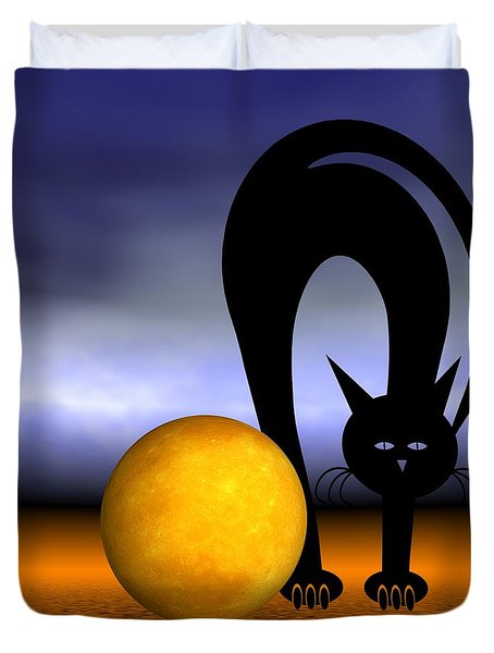 Mooncat's Play With The Fullmoon Duvet Cover