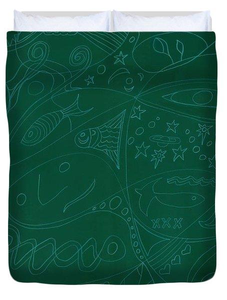 Moonfish Drawing Negative Green Chalk Duvet Cover