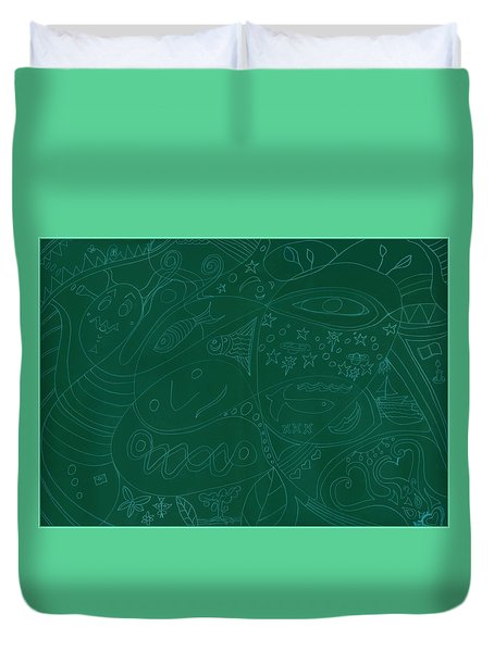 Moonfish Drawing Negative Green Chalk Duvet Cover