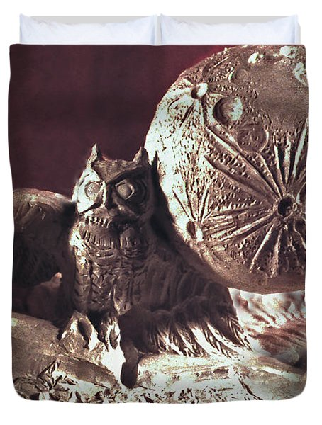 Moonhorse Detail Owl And Moon Duvet Cover by Dawn Senior-Trask