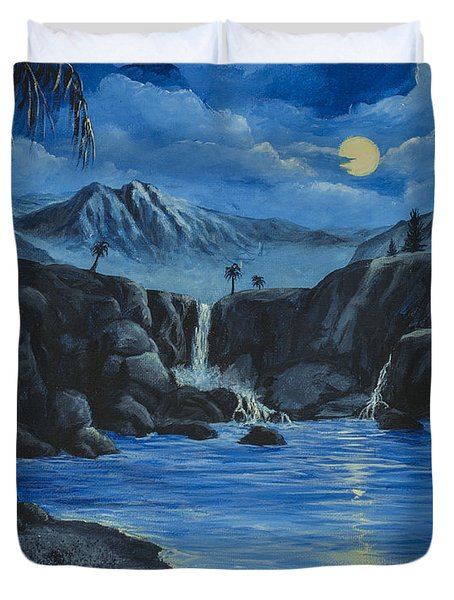 Moonlight And Waterfalls Duvet Cover