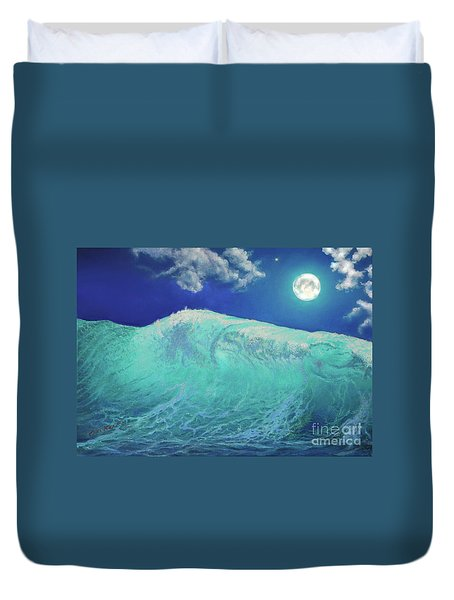Moonlight At Sea Duvet Cover by Miki Karni