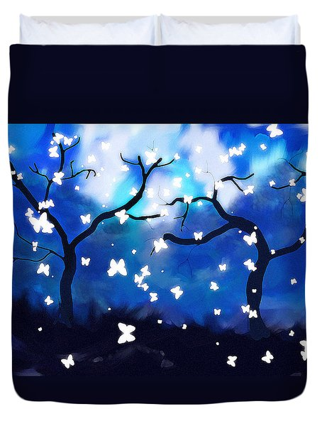 Moonlight Butterflies Duvet Cover
