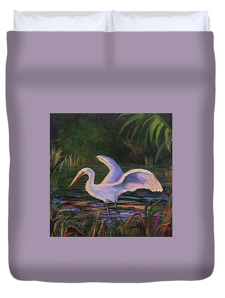 Moonlight Egret Duvet Cover