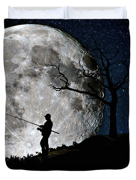 Moonlight Fishing Under The Supermoon At Night Duvet Cover