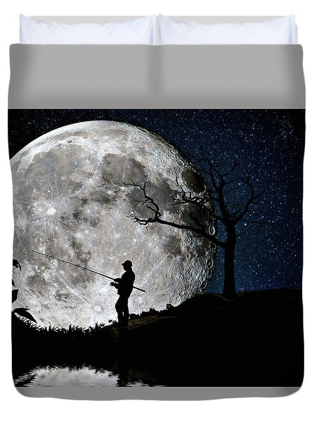 Duvet Cover featuring the photograph Moonlight Fishing Under The Supermoon At Night by Justin Kelefas