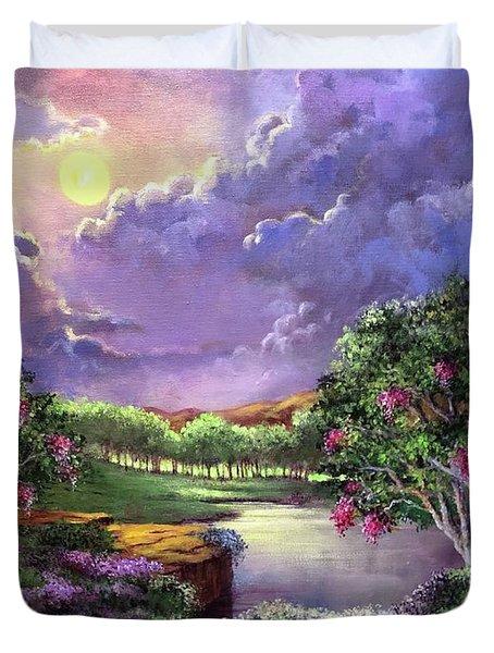 Moonlight In The Woods Duvet Cover