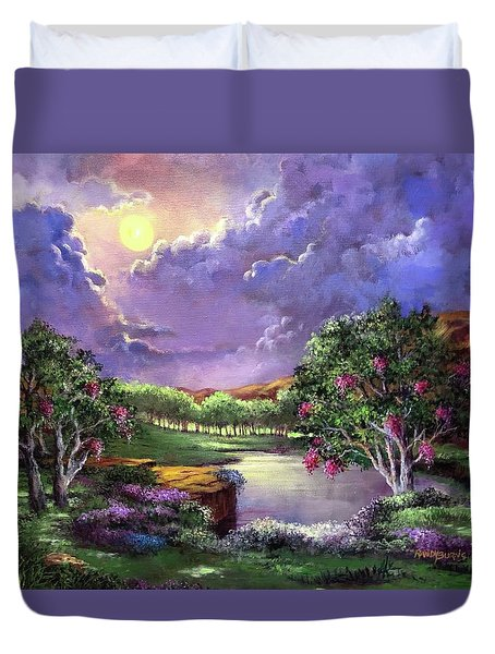Moonlight In The Woods Duvet Cover by Randy Burns