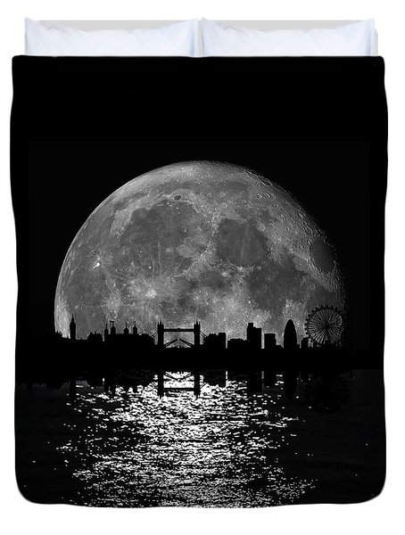 Moonlight London Skyline Duvet Cover by Mark Rogan