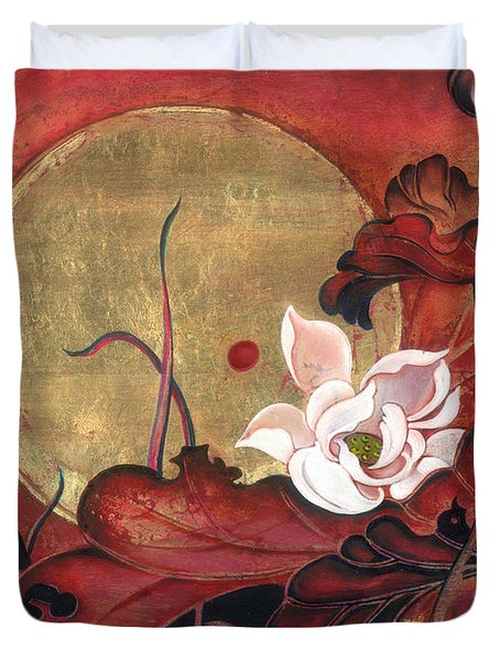 Duvet Cover featuring the painting Moonlight Lullaby by Anna Ewa Miarczynska
