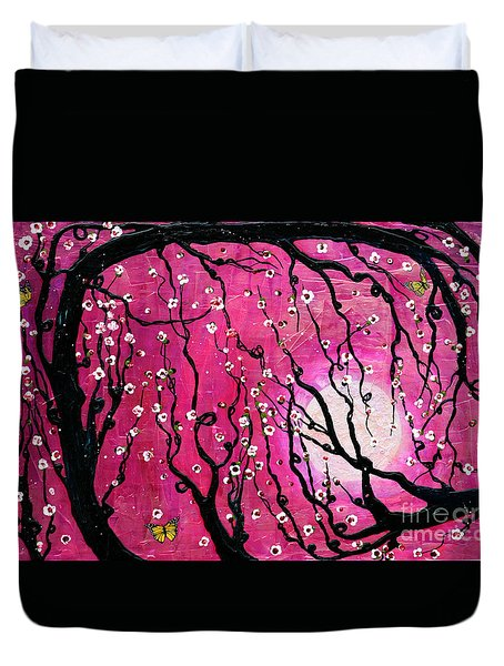 Duvet Cover featuring the mixed media Moonlight Melody by Natalie Briney